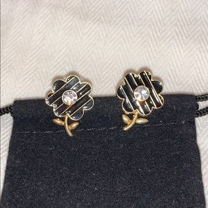 Black/gold enamel earrings with crystal accents